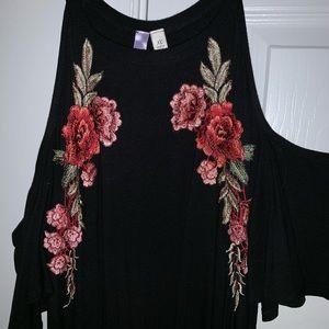 Black cold shoulder floral embroidered dress